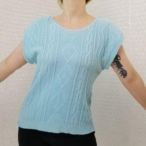 Vintage 1980s Lauren aqua cable knit top